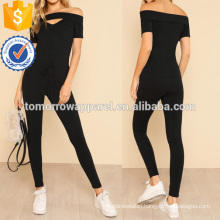 V Cut Bardot Top And Knot Front Pants Set Manufacture Wholesale Fashion Women Apparel (TA4070SS)