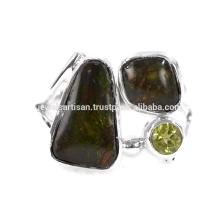 Natürlicher Ammolith und Peridot Edelstein 925 Sterling Silber Ring Schmuck