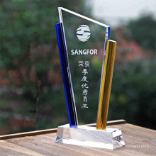 Wholesale High-Quality Blue Yellow Crystal Trophy Glass Awards for Business Gifts