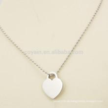 Einfache Art-preiswerte leere silberne Metallherz-Halskette für Freundin