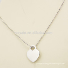 Simple Style Cheap Blank Silver Metal Heart Necklace For Girlfriend