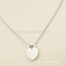 Estilo simples barato prata colar de prata em forma de coração para a namorada