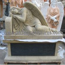 Estatua de mármol del ángel del granito para el cementerio Lápida del monumento de la lápida mortuoria (SY-C1192)