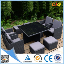 Outdoor 9 PCE Dining Set Table et chaises Wicker Rattan Indoor Ottmans