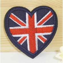 Cool Style Custom Heart Shaped Woven Patches for School Uniform