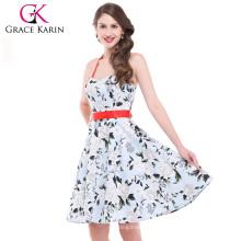 Grace Karin Stock El algodón atractivo del halter imprimió el estilo retro CL4595-2 #