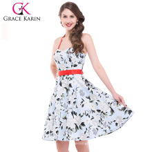 Grace Karin Stock Sexy Halter Cotton Printed Vintage Retro Dress 50's Style CL4595-2#