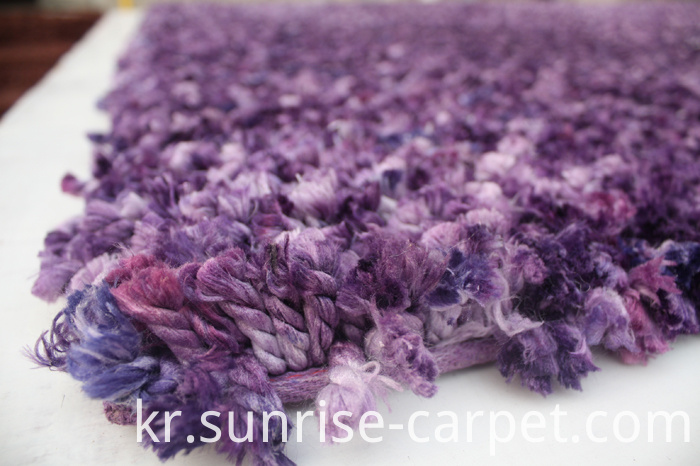 Polyester Shaggy Rug with Space dyed yarn Purple