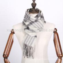 Lenço de lã de padrão de verificação de cor cinza branco para inverno Origem Mongólia Interior