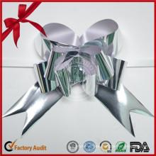 Silver Xmas Gift Wrapping Wedding Car Metallic Pull Bows