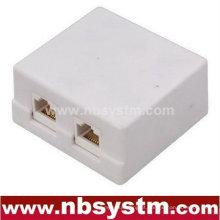 Caixa de superfície de 2 portas com conector de chaveta 2pcs RJ45 ou sem