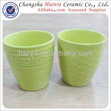 2014 New Stone Clay Spring Green Glazed Ceramic Plant Pot / Custom Flower Pots And Planters / Rustic Garden Flower Pots