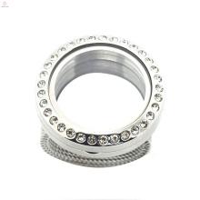 Usine prix rond cristal 316l vivant verre en acier inoxydable flottants médaillons bijoux anneaux