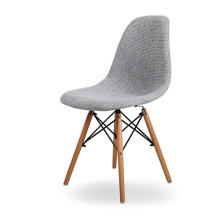 Wooden Legs Grey Fabric Upholstered Dining Chair