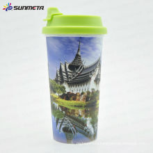 sublimation colorful polymer travel mug with silicon lid double wall polymer mugs