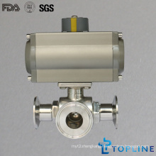 Stainless Steel Sanitary Pneumatic Three Way Ball Valve with Clamps Ends