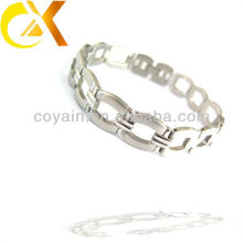 engraved stainless steel jewelry man shiny chain link polished bracelet