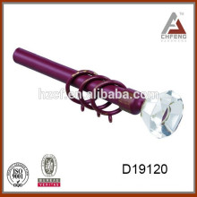 luxury finials steel curtain rod for European market with high class crystals/glass curtain end cap/tension rod with springs