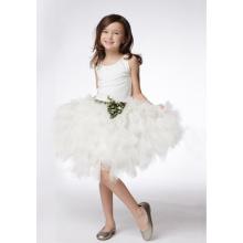 Ball Gown Round Neck Knee-length Taffeta Tulle Tiered Flower Girl Dress