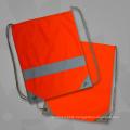 Orange Promotional Reflective Strap Drawstring Bags