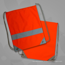 Orange Promotional Reflective Strap Drawstring Bags