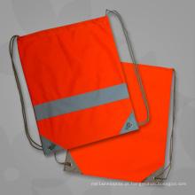 Sacos de cordão reflexivos relativos à promoção alaranjados da correia