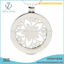 Красивый цветок серебряная монета кулон, медальон из нержавеющей стали