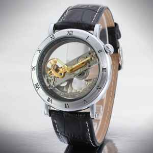 Alloy Case Leather Tourbillon Automatic Movement Watch