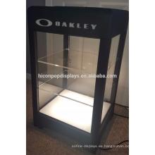 Gafas de sol de venta al por menor tienda de contador de 3 capas de bloqueo de luz hasta acrílico Metal Eye Glasses Display Cases