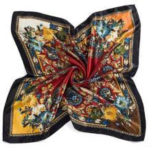 Estilo de la moda anacardos impresión satén cuadrado bufanda de seda imitada
