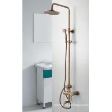 Grifo de baño de bronce antiguo Q3078ta / mezclador / grifo Juego de ducha de tres funciones con cabezal de ducha y ducha de mano