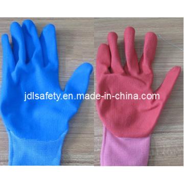 En Nylon coloré tricot gant de travail avec Sandy Nitrile plongeant (N1558C)