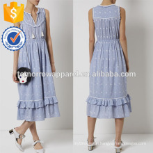 New Fashion Blue Cotton Embroidered Summer Dress Manufacture Wholesale Fashion Women Apparel (TA5282D)