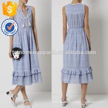 Nova Moda Azul Algodão Bordado Vestido de Verão Fabricação Atacado Moda Feminina Vestuário (TA5282D)