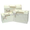Estilo fresco regalo bolsas con cinta de lujo, versión horizontal de bolsas de papel lindo de lunares