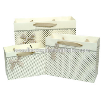 Fresh style gift bags with upscale ribbon, Polka Dot cute paper bags horizontal version