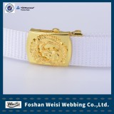 White color canvas belt navy belt with embossed buckle for Thailand