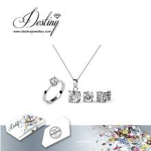Destin bijoux cristal Swarovski simple Set boucles d'oreilles et pendentif anneau