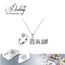 Destiny Jewellery Crystal From Swarovski Simple Set Pendant Ring and Earrings