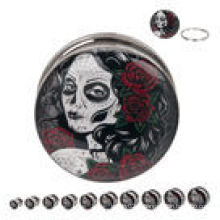 Day of the Dead Maiden 316L Vis en acier Fit bouchons d'oreille piercings