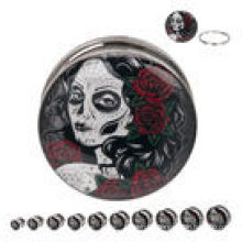 Day of the Dead Maiden 316L Steel Screw Fit ear plugs piercings