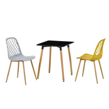 Black Plastic Cafe Dining Chairs Stackable Simple