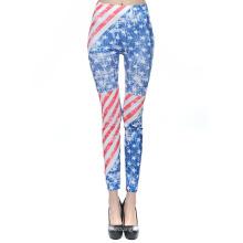 Vente chaude drapeau impression pantalons longs femmes vêtements leggings