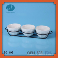 White ceramic sets dinnerware snack tray set,ceramic ice cream bowl with stand