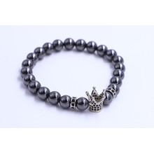 Stainless Steel Mens Crown Charm Beads Bracelets