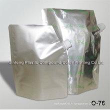 Pochette en aluminium à levier liquide avec bec, sac détergent