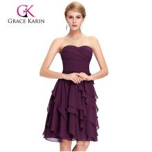 Sexy Mature Ladies Strapless Chiffon Bridesmaid Dress Grace Karin Knee Length Bridesmaid Dresses CL3439