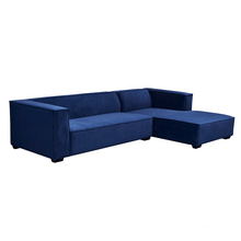Modern European Style  Couches Corner Hotel Furniture Blue Right Chaise Sleeper Sectional Sofa Fabric