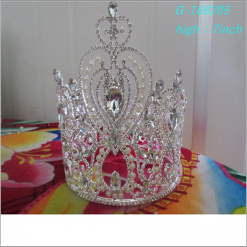 Atacado Fashion pearl grande representação coroas coroa em miniatura completa