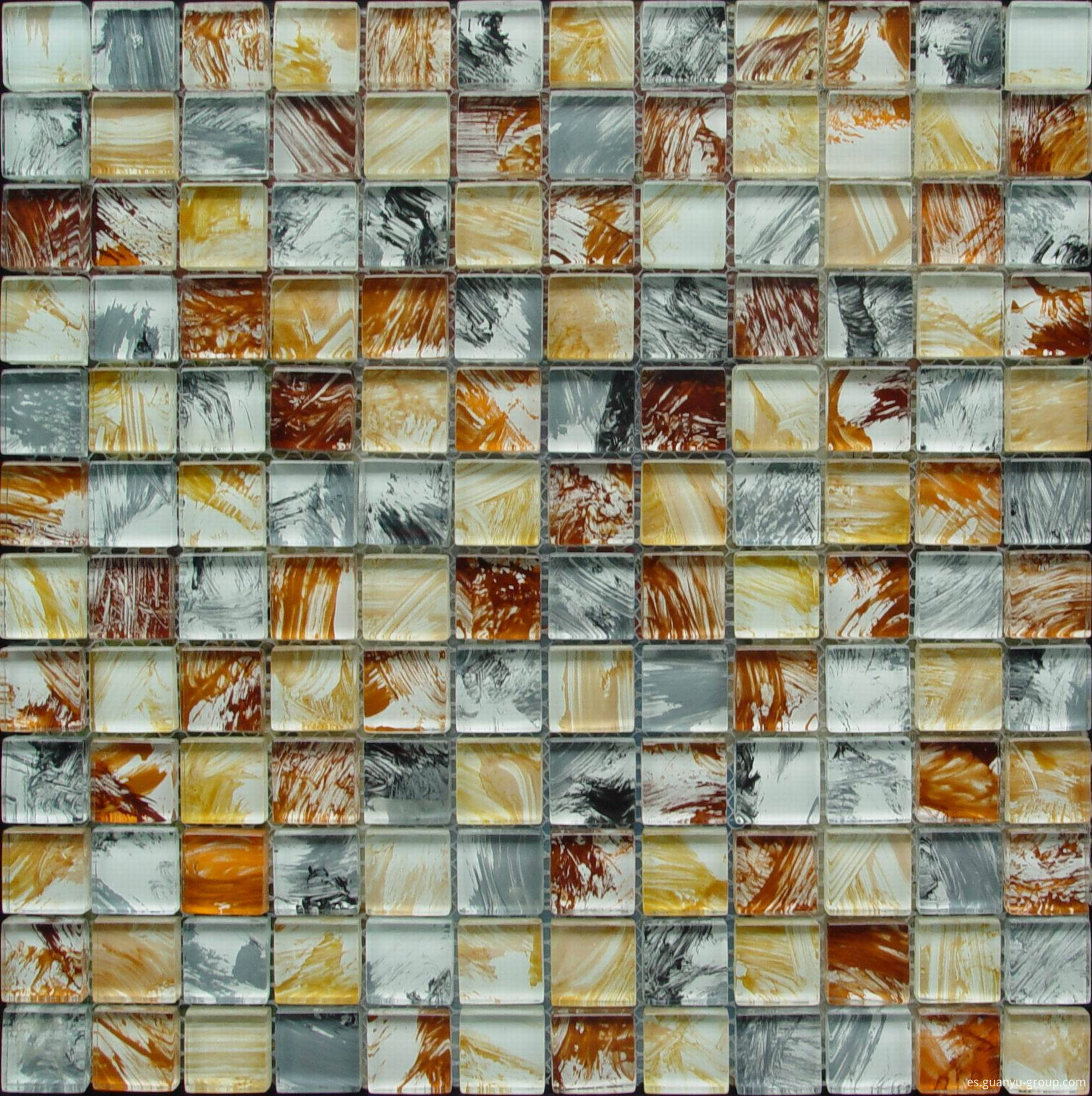 Colorful Hand Painting Glass Mosaic Tile
